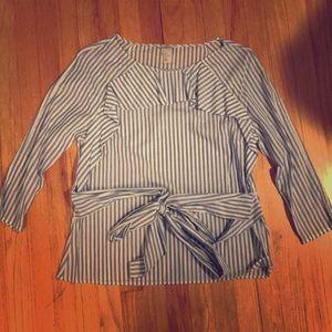 H&M blue stripes long sleeve blouse